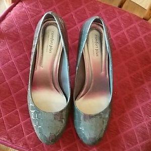 Gray faux crocodile heels